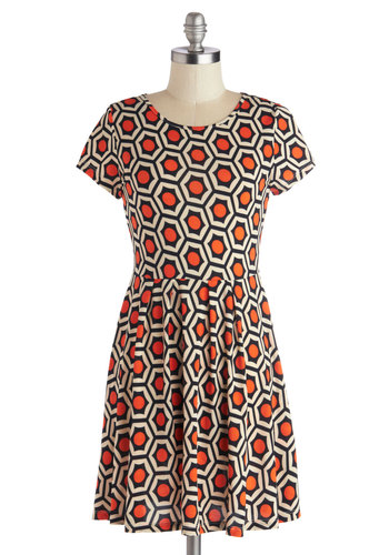 Ad to Your Wardrobe Dress - Short, Knit, Orange, Black, White, Casual, A-line, Short Sleeves, Good, Scoop, Statement, Print, Vintage Inspired, 60s, Mod, Halloween