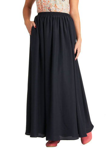 What's That You Sway? Skirt - Blue, Solid, Casual, Boho, Maxi, Long, Woven, Pockets, Minimal, Blue