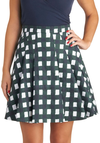 Stylish Intersection Skirt - Checkered / Gingham, Better, Casual, Knit, Press Placement, Multi, Ballerina / Tutu, Multi, Short