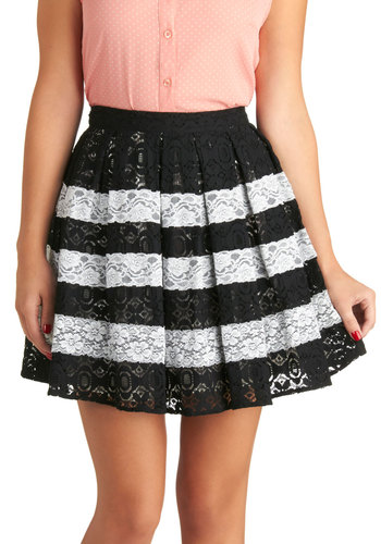 Refined Reflection Skirt - Black, Stripes, Lace, Better, Short, Woven, Party, Daytime Party, Ballerina / Tutu, Black