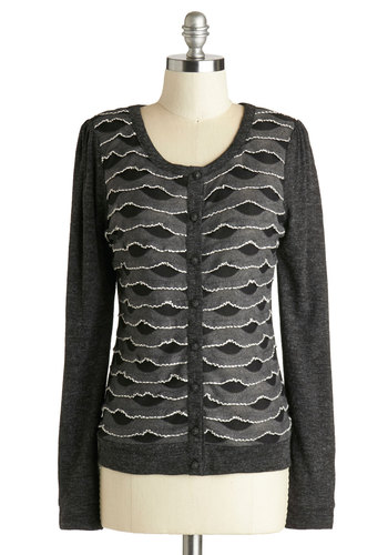 Gale Next Door Cardigan - Knit, Mid-length, Grey, Black, Buttons, Ruffles, Long Sleeve, Better, Work, Scoop, Grey, Long Sleeve