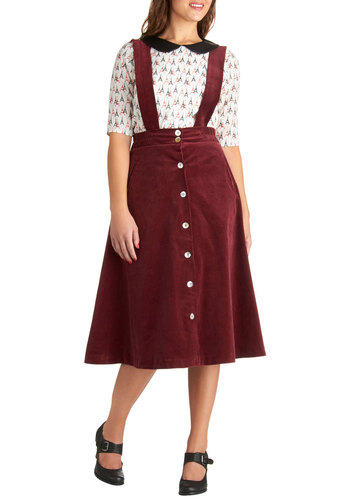 Darling in a Dirndl Skirt - Cotton, Red, Solid, Buttons, Vintage Inspired, Casual, Winter, Work, Scholastic/Collegiate, Long, Suspender, Red
