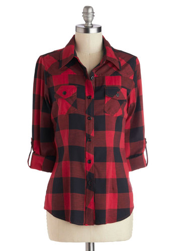Simply Scout Top in Red - Mid-length, Cotton, Woven, Red, Black, Buttons, Casual, Checkered / Gingham, Pockets, Rustic, 3/4 Sleeve, Fall, Collared, 90s, Plaid, Winter, Red, Tab Sleeve
