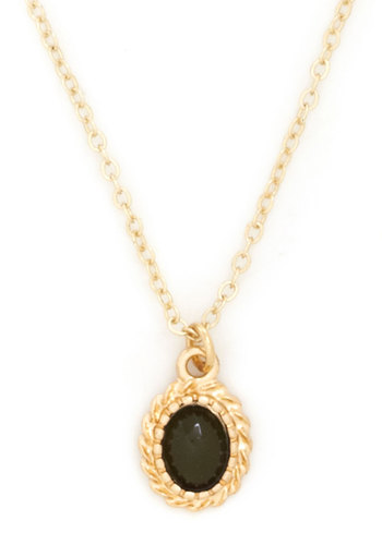 Olive and Learn Necklace - Green, Gold, Solid