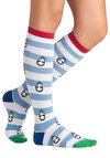 Penguin 'Em Over Socks - Stripes, Print with Animals, Multi, Blue, White, Casual, Knit