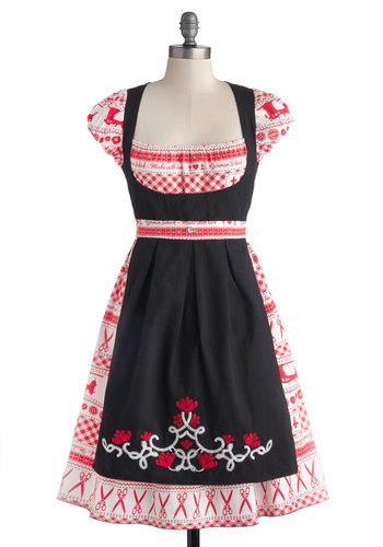 Sweet Seams Dress by Blutsgeschwister - Cotton, Woven, Mid-length, Red, Black, White, Novelty Print, Embroidery, Casual, A-line, Cap Sleeves, Better, Folk Art