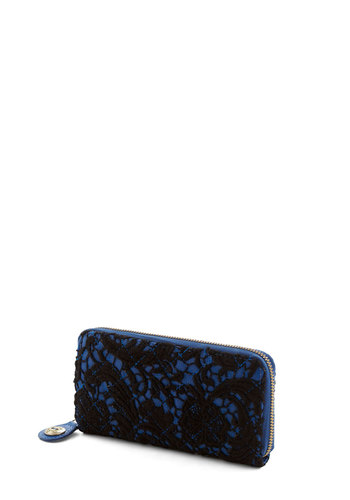 Lace to Love Wallet by Darling - Blue, Lace, Quilted, Statement, International Designer, Faux Leather, Black