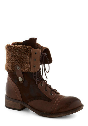 Spokane For Boot - Brown, Boho, Rustic, Low, Lace Up, Better, Faux Leather, Faux Fur