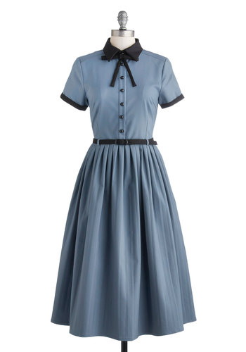 Muse Your Instincts Dress - Long, Blue, Black, Trim, Belted, Casual, A-line, Short Sleeves, Better, Collared, Vintage Inspired, Scholastic/Collegiate, Solid, Buttons, Tie Neck, 50s