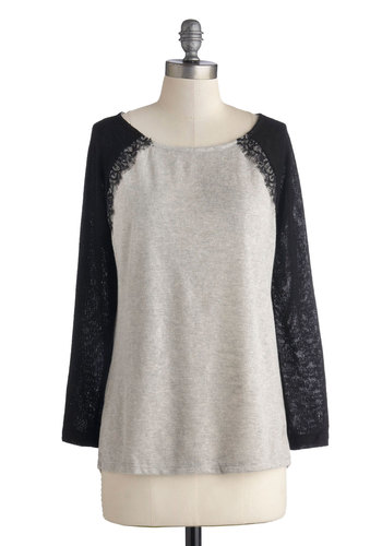 Relaxed Luxury Sweater - Mid-length, Sheer, Knit, Grey, Black, Lace, Casual, Long Sleeve, Good, Scoop, Grey, Long Sleeve
