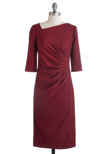 Simple Sophistication Dress - Woven, Long, Red, Solid, Ruching, Sheath / Shift, 3/4 Sleeve, Better, Work, Cocktail, Vintage Inspired, 40s, 50s, 60s