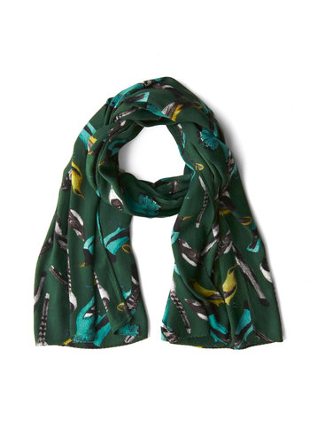 One to Birdwatch Scarf - Green, Multi, Print with Animals, Casual, Best
