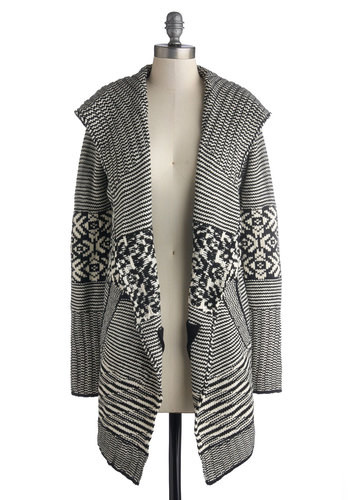 Cozy Classwork Cardigan - Knit, Multi, Black, White, Stripes, Casual, Long Sleeve, Print, Pockets, Fall, Multi, Long Sleeve