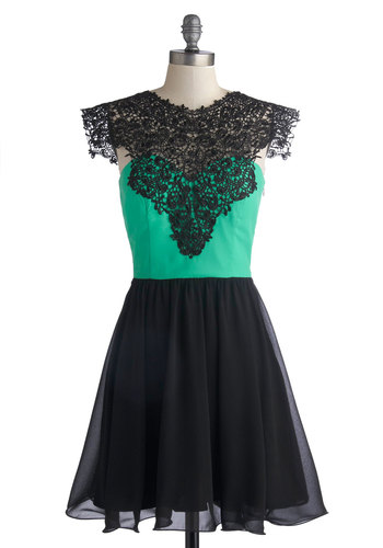 Drumroll, Please Dress - Black, Green, Crochet, Prom, Cocktail, A-line, Sleeveless, Better, Mid-length, Chiffon, Woven, Statement, Party