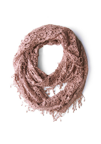 Dawn Departure Circle Scarf - Pink, Solid, Fringed, Better, Crochet, Pastel, Cotton