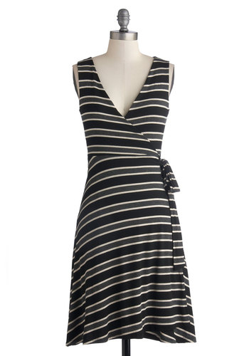 Quite the Parallel Dress - Black, Grey, White, Stripes, Casual, Wrap, Sleeveless, Good, V Neck, Mid-length, Jersey, Knit