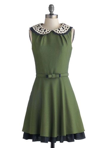 Evening Debut Dress - Mid-length, Woven, Green, Tan / Cream, Black, Eyelet, Peter Pan Collar, Tiered, A-line, Sleeveless, Better, Collared, Solid, Belted, Fall, Work, Exclusives