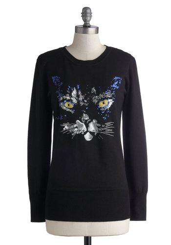 Now Mew See Me Sweater - Knit, Mid-length, Black, Print with Animals, Sequins, Cats, Long Sleeve, Better, Casual, Crew, Halloween, Novelty Print, Black, Long Sleeve