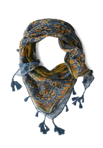 Local Market Scarf in Blue - Blue, Multi, Floral, Tassles, Boho, Better, Variation, Woven