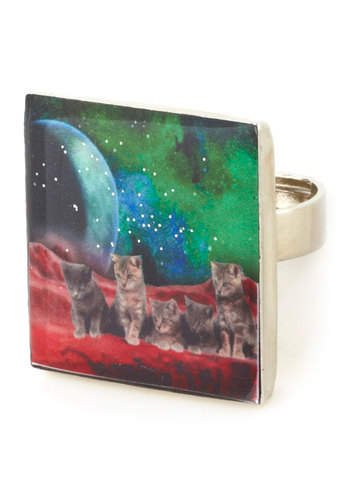 Feline Futuristic Ring by Locketship - Multi, Green, Print with Animals, Quirky, Cats, Better, Statement, Red