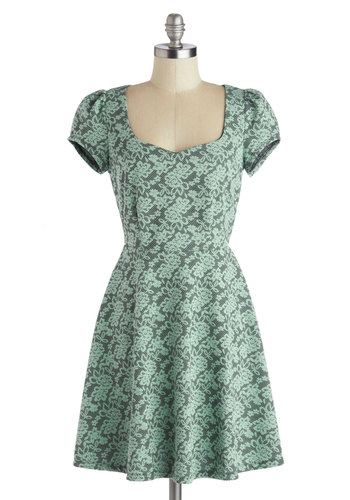 Take a Twirl Dress - Mid-length, Knit, Blue, Grey, Floral, Party, A-line, Good, Daytime Party, Pastel, Cap Sleeves, Green, Lace