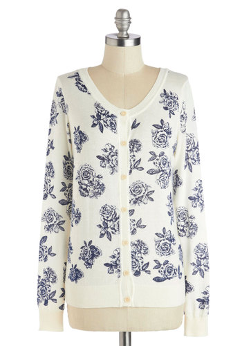 Full of Floral Cardigan - Cream, Blue, Floral, Buttons, Daytime Party, Long Sleeve, Mid-length, Cotton, Knit, White, Long Sleeve, Spring