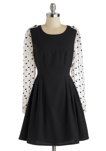 Chic Conductor Dress by Darling - Long Sleeve, Mid-length, Woven, Black, White, Polka Dots, Epaulets, Party, A-line, Better, Scoop, Work