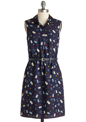 Game Night Owl Dress by Yumi - Mid-length, Sheer, Woven, Blue, Multi, Novelty Print, Buttons, Lace, Belted, Casual, Shirt Dress, Sleeveless, Better, Collared, Work, Quirky