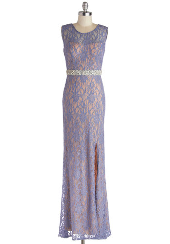 Praiseworthy Glamour Dress - Purple, Cutout, Lace, Rhinestones, Special Occasion, Maxi, Sleeveless, Better, Scoop, Backless, Sheer, Knit, Prom, Homecoming, Pastel