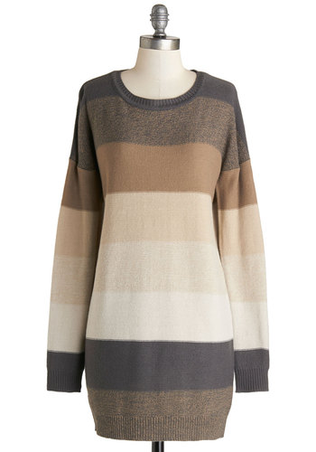 On the Horizon Line Sweater in Taupe by Jack by BB Dakota - Grey, Stripes, Casual, Long Sleeve, Better, Long, Tan / Cream, Brown, Long Sleeve