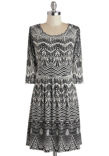 Optic Verve Dress - Mid-length, Knit, Black, White, Print, Casual, A-line, 3/4 Sleeve, Good, Scoop