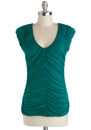 Cabin the Groove Top - Mid-length, Jersey, Knit, Green, Solid, Ruching, Cap Sleeves, Good, Scoop, Top Rated