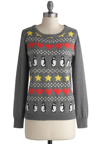 Antarctic Social Circle Sweater by Sugarhill Boutique - Grey, Print with Animals, Long Sleeve, Better, International Designer, Multi, Novelty Print, Mid-length, Knit, Winter, Holiday, Grey, Long Sleeve