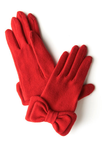 Not to Worry Gloves in Red - Red, Solid, Bows, Fall, Winter, Best, Variation, Knit, Holiday