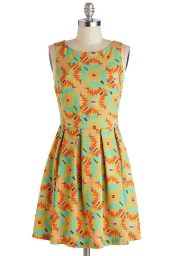 Bold Horizon Dress - Green, Multi, Print, Exposed zipper, Casual, A-line, Sleeveless, Good, Scoop, Short, Woven, Statement, Pleats, Pockets