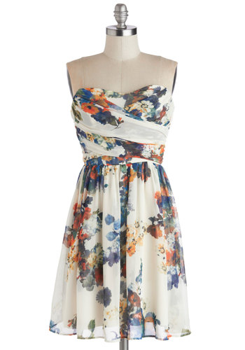 Illustrate the Obvious Dress - Multi, Orange, Blue, Tan / Cream, Floral, Daytime Party, A-line, Strapless, Good, Sweetheart, Mid-length, Sheer, Woven, Party, Cocktail