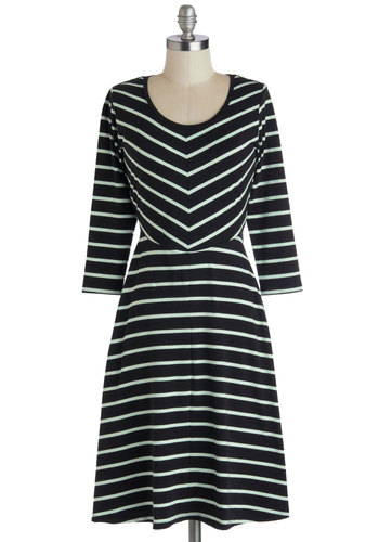 On the Riser Dress - Jersey, Cotton, Knit, Long, Black, Stripes, Casual, A-line, Long Sleeve, Good, Scoop, Fall, Mint, Winter