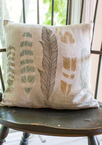 Ties the Plume Together Pillow - Dorm Decor, Better, Tan, Multi, Print, Feathers, Woven, Boho, Pastel
