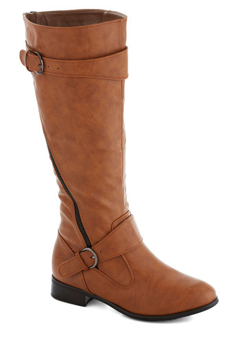 Adventures in Asheville Boot - Tan, Solid, Buckles, Good, Faux Leather, Exposed zipper, Low