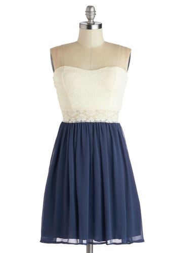 Fine and Dandy Dress in Navy - Solid, Lace, Daytime Party, A-line, Strapless, Good, Sweetheart, Mid-length, Sheer, Knit, Woven, Blue, Tan / Cream, Twofer, Variation, Top Rated