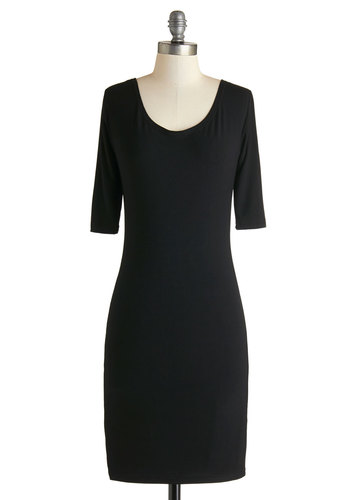 Demure Still the One Dress - Black, Solid, Casual, Minimal, Shift, 3/4 Sleeve, Good, Crew, Knit, Basic, Mid-length