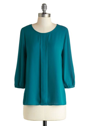 Lovely Luncheon Top - Blue, Solid, Work, Good, Mid-length, Chiffon, Woven, 3/4 Sleeve, Scoop, Blue, 3/4 Sleeve