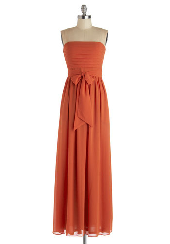 Sunset the Scene Dress - Orange, Solid, Maxi, Strapless, Good, Long, Chiffon, Pleats, Pockets, Belted, Party, Woven, Beach/Resort, Wedding, Bridesmaid