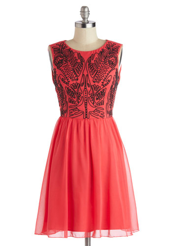 Pretty as Punch Dress - Pink, Black, Cocktail, A-line, Sleeveless, Better, Scoop, Mid-length, Chiffon, Woven, Embroidery, Rhinestones, Party, Valentine's