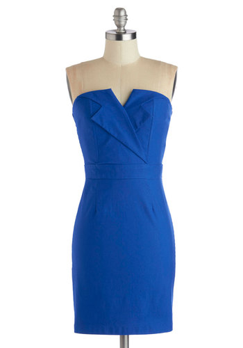 Azure About It Dress - Blue, Solid, Party, Sheath / Shift, Strapless, Good, Sweetheart, Mid-length, Knit, Cocktail, Girls Night Out