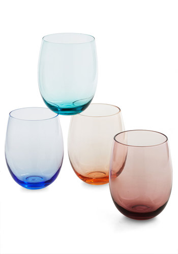 Toasting the Host Glass Set - Multi, Wedding, Party, Cocktail, Holiday Party, Daytime Party, Better, Red, Orange, Green, Blue, Solid, Holiday