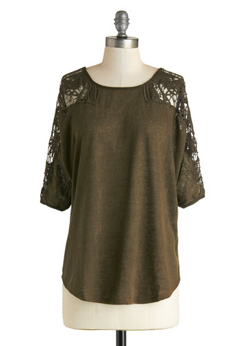 Olive Grove Picnic Top - Green, Solid, Lace, Short Sleeves, Good, Mid-length, Sheer, Crochet, Casual, Scoop, Top Rated, Green, 3/4 Sleeve