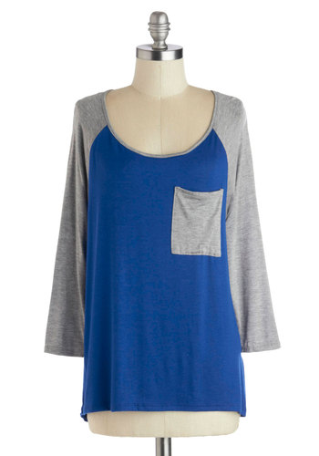 Got Pick Up Game Top - Blue, Grey, Solid, 3/4 Sleeve, Good, Mid-length, Jersey, Knit, Pockets, Casual, Colorblocking, Scoop, Blue, 3/4 Sleeve