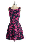 Lanai for Gardening Dress - Mid-length, Woven, Floral, Bows, Party, A-line, Sleeveless, Good, Scoop, Cocktail, Pink, Blue