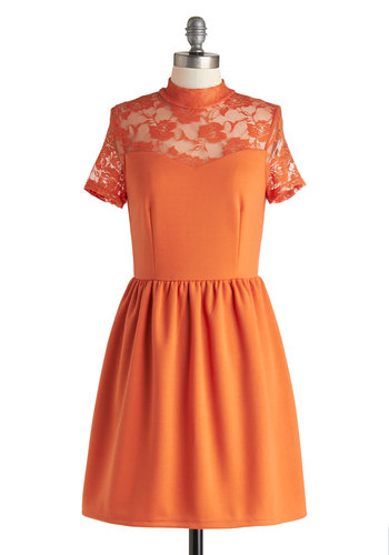 Party in Persimmon Dress - Sheer, Knit, Orange, Solid, Lace, Party, A-line, Short Sleeves, Good, Exclusives, Gifts Sale, Short